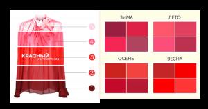 оттенки красного для цветотипов